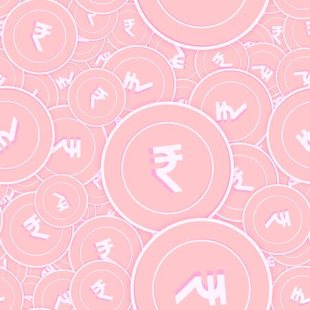 Indian rupee copper coins seamless pattern. Interesting scattered pink INR coins. Success concept. India money pattern. Coin vector illustration.