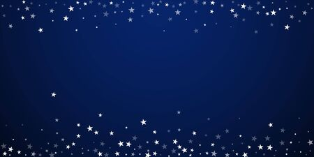 Random falling stars Christmas background. Subtle flying snow flakes and stars on dark blue night background. Amusing winter silver snowflake overlay template. Sublime vector illustration.