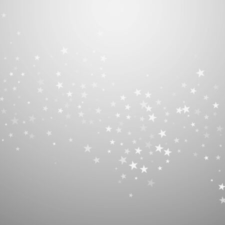 Random falling stars Christmas background. Subtle flying snow flakes and stars on light grey background. Bizarre winter silver snowflake overlay template. Popular vector illustration.