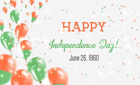Madagascar Independence Day Greeting Card. Flying Balloons in Madagascar National Colors. Happy Independence Day Madagascar Vector Illustration. Ilustrace