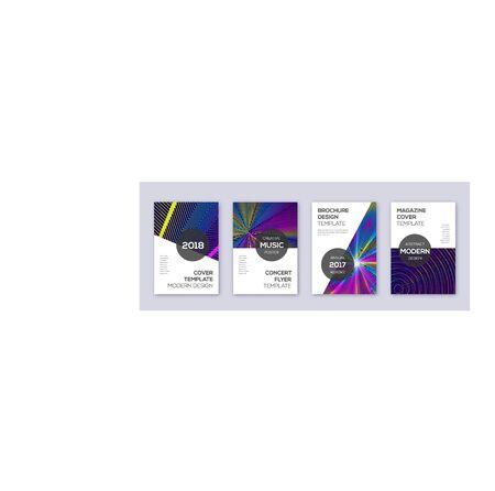 Modern brochure design template set. Rainbow abstract lines on dark blue background. Beauteous brochure design. Authentic catalog, poster, book template etc. Çizim