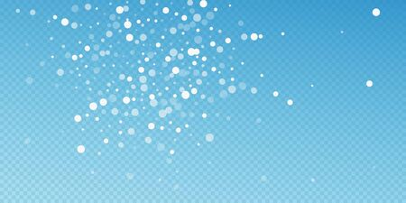 White dots Christmas background. Subtle flying snow flakes and stars on blue transparent background. Attractive winter silver snowflake overlay template. Awesome vector illustration. Ilustrace