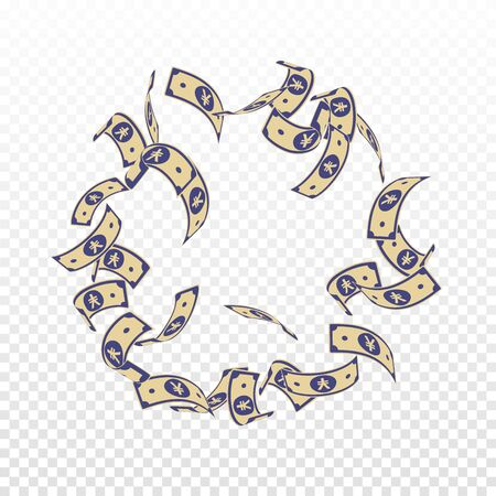Chinese yuan notes falling. Floating CNY bills on transparent background. China money. Dramatic vector illustration. Wonderful jackpot, wealth or success concept.