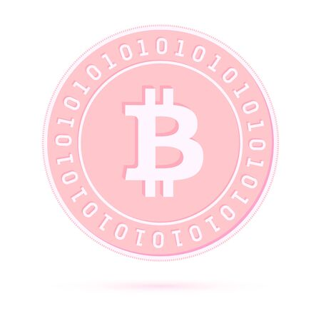 Bitcoin, internet currency coin isolated on white background. BTC copper pink coin. Cryptocurrency, digital metal money. Emotional cartoon vector illustration. Ilustrace