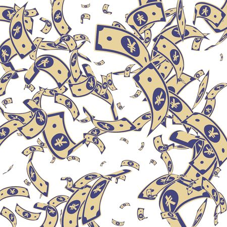 Chinese yuan notes falling. Random CNY bills on white background. China money. Elegant vector illustration. Bewitching jackpot, wealth or success concept.