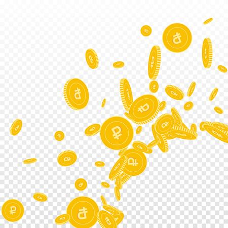 Russian ruble coins falling. Scattered floating RUB coins on transparent background. Captivating radiant right bottom corner vector illustration. Jackpot or success concept.