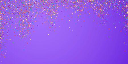 Festive confetti. Celebration stars. Rainbow bright stars on bright purple background. Delightful festive overlay template. Cool vector illustration. Standard-Bild - 131483381