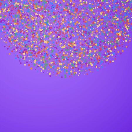 Festive confetti. Celebration stars. Joyous confetti on bright purple background. Comely festive overlay template. Fantastic vector illustration.