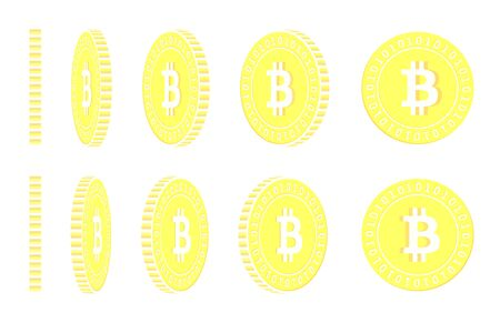 Bitcoin, internet currency rotating coins set, animation ready. Yellow BTC gold coins rotation. Cryptocurrency, digital metal money. Powerful cartoon vector illustration.