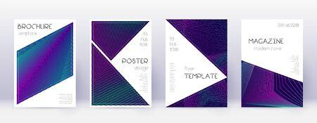 Triangle brochure design template set. Neon abstract lines on dark blue background. Breathtaking brochure design. Appealing catalog, poster, book template etc. Vector Illustratie