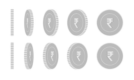 Indian rupee rotating coins set, animation ready. Black and white INR silver coins rotation. India metal money. Likable cartoon vector illustration.