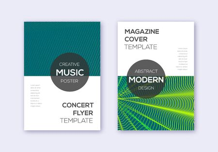 Modern cover design template set. Green abstract lines on dark background. Exceptional cover design. Magnetic catalog, poster, book template etc.