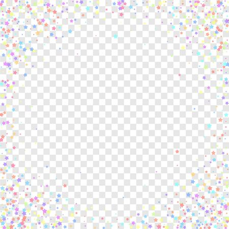Festive confetti. Celebration stars. Colorful stars on transparent background. Cool festive overlay template. Likable vector illustration. Иллюстрация