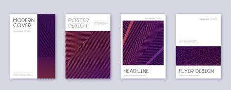 Minimal brochure design template set. Violet abstract lines on dark background. Artistic brochure design. Mind-blowing catalog, poster, book template etc. Stok Fotoğraf - 132025788