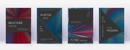 Black brochure design template set. Red abstract lines on white blue background. Admirable brochure design. Impressive catalog, poster, book template etc.