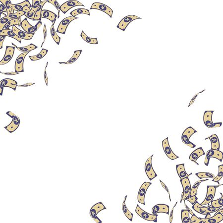 Chinese yuan notes falling. Small CNY bills on white background. China money. Ecstatic vector illustration. Exquisite jackpot, wealth or success concept.