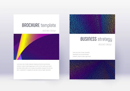 Minimalistic cover design template set. Rainbow abstract lines on dark blue background. Energetic cover design. Enchanting catalog, poster, book template etc.