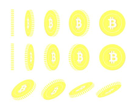 Bitcoin, internet currency rotating coins set, animation ready. Yellow BTC gold coins rotation. Cryptocurrency, digital metal money. Ravishing cartoon vector illustration.  イラスト・ベクター素材