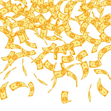 Korean won notes falling. Floating WON bills on white background. Korea money. Delicate vector illustration. Gorgeous jackpot, wealth or success concept. Фото со стока - 131852863