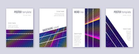 Geometric brochure design template set. Rainbow abstract lines on dark blue background. Alluring brochure design. Juicy catalog, poster, book template etc. Illusztráció