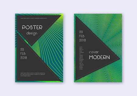 Black cover design template set. Green abstract lines on dark background. Actual cover design. Unequaled catalog, poster, book template etc. Çizim