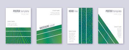 Geometric brochure design template set. Green abstract lines on dark background. Alluring brochure design. Admirable catalog, poster, book template etc. Illusztráció