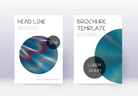 Trendy cover design template set. Red abstract lines on white blue background. Good-looking cover design. Amusing catalog, poster, book template etc.
