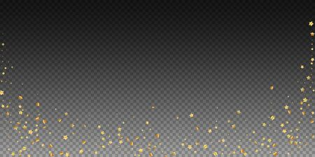 Gold stars random luxury sparkling confetti. Scattered small gold particles on transparent background. Beautiful festive overlay template. Classy vector illustration. Иллюстрация