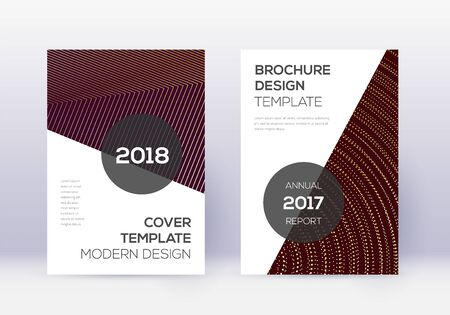 Modern cover design template set. Gold abstract lines on maroon background. Extra cover design. Magnificent catalog, poster, book template etc. Stock Illustratie