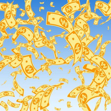 Korean won notes falling. Random WON bills on blue sky background. Korea money. Delicate vector illustration. Artistic jackpot, wealth or success concept. Stok Fotoğraf - 132039367