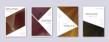Triangle brochure design template set. Gold abstract lines on bordo background. Bold brochure design. Magnificent catalog, poster, book template etc.