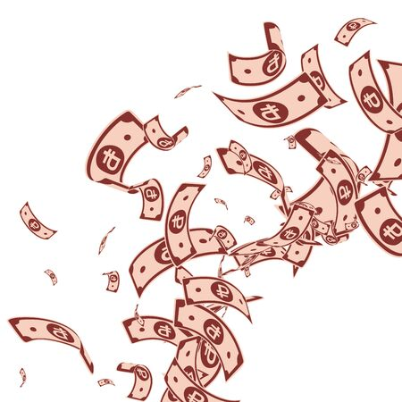 Russian ruble notes falling. Messy RUB bills on white background. Russia money. Bewitching vector illustration. Worthy jackpot, wealth or success concept.