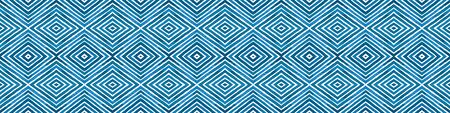 Blue Seamless Border Scroll. Geometric Watercolor Frame. Admirable Seamless Pattern. Medallion Repeated Tile. Ravishing Chevron Ribbon Ornament.