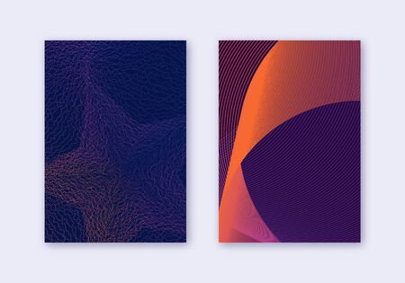 Cover design template set. Abstract lines modern brochure layout. Violet vibrant halftone gradients on dark background. Overwhelming brochure, catalog, poster, book etc. Standard-Bild - 132559744