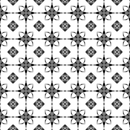 Black and white geometric seamless pattern. Hand drawn watercolor ornament. Bold repeating design. Cool fabric cloth, swimwear design, wallpaper wrapping.