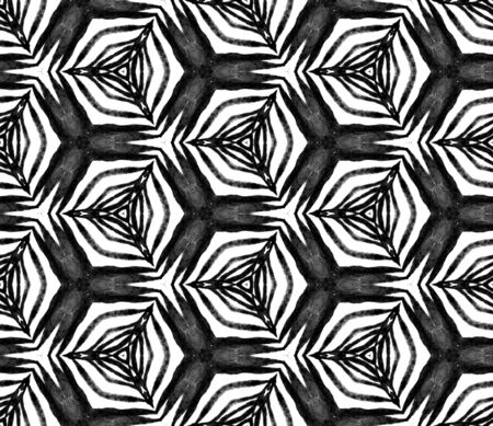 Black and white hexagonal seamless pattern. Hand drawn watercolor ornament. Magnificent repeating tile. Outstanding fabric cloth, swimwear design, wallpaper, wrapping.