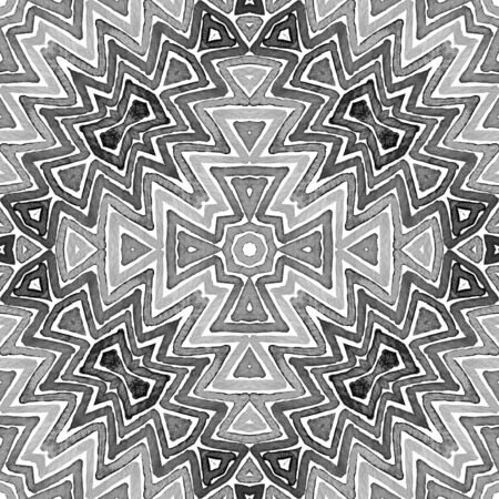 Black and white Geometric Watercolor. Creative Seamless Pattern. Hand Drawn Stripes. Brush Texture. Magnificent Chevron Ornament. Fabric Cloth Swimwear Design Wallpaper Wrapping. Stock Photo