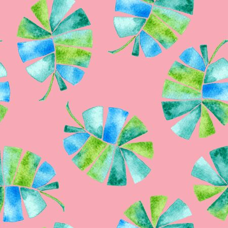Tropical seamless pattern. Watercolor childish palm leaves, japanese bamboo. Green exotic swimwear design. Summer tropic repeated print. Amusing textile illustration.