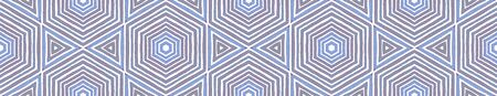 Blue Seamless Border Scroll. Geometric Watercolor Frame. Adorable Seamless Pattern. Medallion Repeated Tile. Enchanting Chevron Ribbon Ornament.