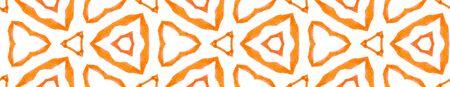 Orange medallion Seamless Border Scroll. Geometric Watercolor Frame. Charming Seamless Pattern. Medallion Repeated Tile. Cool Chevron Ribbon Ornament.