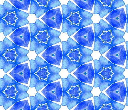 Blue blue vintage seamless pattern. Hand drawn watercolor ornament. Ravishing repeating tile. Adorable fabric cloth, swimwear design, wallpaper, wrapping.