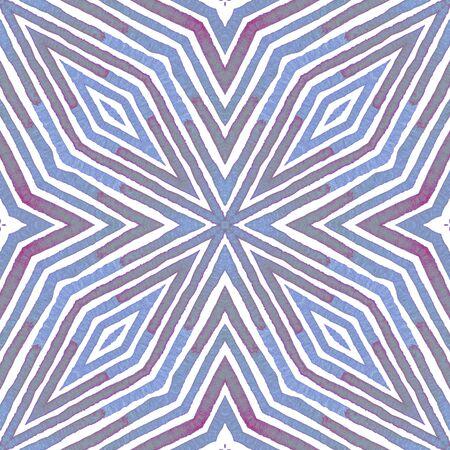 Blue Geometric Watercolor. Cute Seamless Pattern. Hand Drawn Stripes. Brush Texture. Uncommon Chevron Ornament. Fabric Cloth Swimwear Design Wallpaper Wrapping. Stock Photo