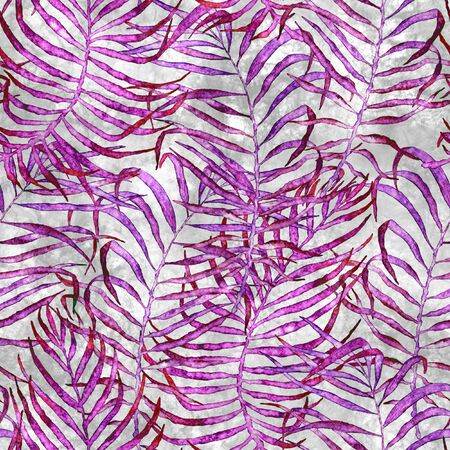 Tropical seamless pattern. Watercolor tangled palm leaves, japanese bamboo. Purple exotic swimwear design. Summer tropic repeated print. Bewitching textile illustration.