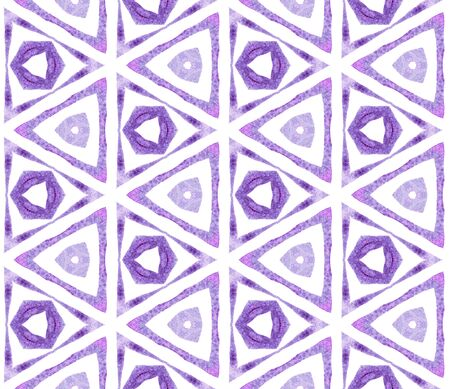 Purple kaleidoscope seamless pattern. Hand drawn watercolor ornament. Positive repeating tile. Favorable fabric cloth, swimwear design, wallpaper, wrapping.