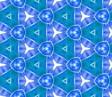 Blue blue vintage seamless pattern. Hand drawn watercolor ornament. Rare repeating tile. Impressive fabric cloth, swimwear design, wallpaper, wrapping. Banco de Imagens