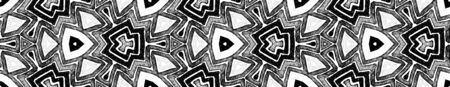 Dark black and white Seamless Border Scroll. Geometric Watercolor Frame. Alive Seamless Pattern. Medallion Repeated Tile. Ravishing Chevron Ribbon Ornament.