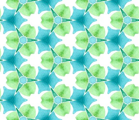 Blue green vintage retro seamless pattern. Hand drawn watercolor ornament. Stunning repeating tile. Positive fabric cloth, swimwear design, wallpaper, wrapping.