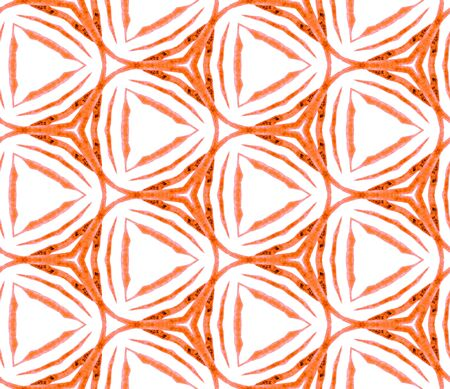 Orange summer seamless pattern. Hand drawn watercolor ornament. Modern repeating tile. Ideal fabric cloth, swimwear design, wallpaper, wrapping.
