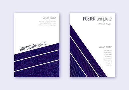 Geometric cover design template set. Rainbow abstract lines on dark blue background. Brilliant cover design. Extra catalog, poster, book template etc.