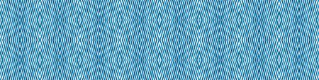 Blue Seamless Border Scroll. Geometric Watercolor Frame. Admirable Seamless Pattern. Medallion Repeated Tile. Powerful Chevron Ribbon Ornament.